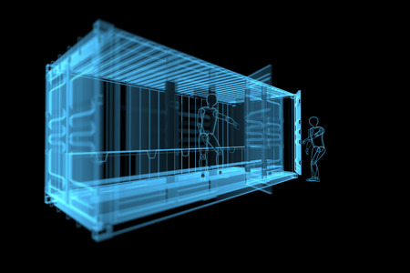 shipping container with human siluets  3D x-ray blue transparent isolated on black  Stock Photo