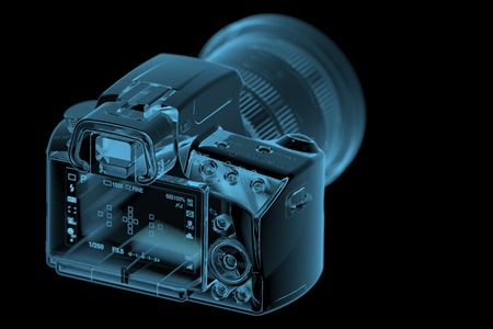 profesional: Profesional DSLR camera  3D xray blue transparent