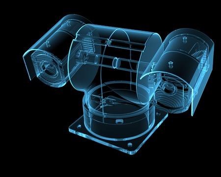 Bewakingscamera 3D xray blauwe transparant