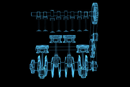 mechanical energy: Engine  3D x-ray blue transparent isolated on black  Stock Photo