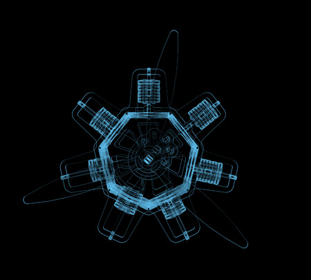 dismounted: Rotary engine  3D x-ray blue transparent isolated on black  Stock Photo