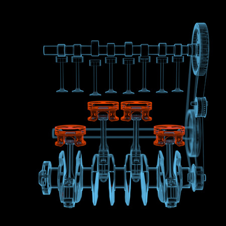 inner cylinder: Crank shaft with pistons  3D xray red and blue transparent isolated on black background