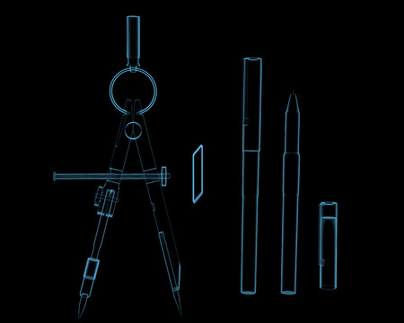 drafting tools: Drafting compass  3D x-ray blue transparent isolated on black