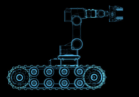 Bomb squad robot  3D x-ray blue transparent isolated on black  Stock Photo