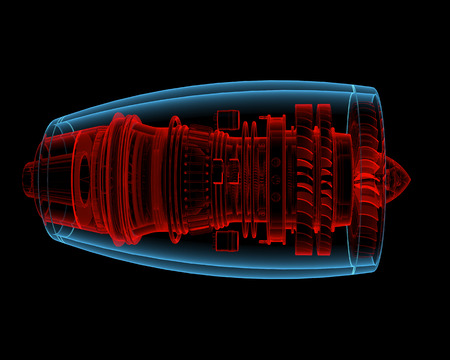 inner cylinder: Turbo jet engine  3D xray red and blue transparent