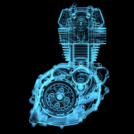 dismounted: Motocycle engine  3D x-ray blue transparent isolated on black  Stock Photo