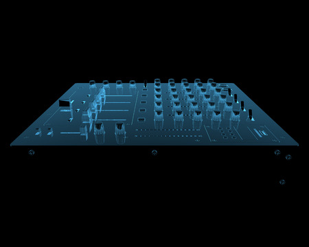 DJ audio mixer  3D x-ray blue transparent isolated on black  photo