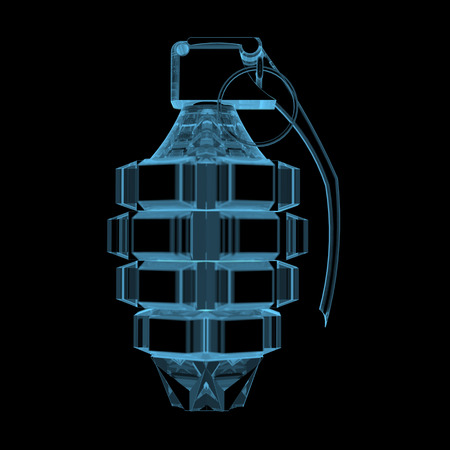 Grenade  3D x-ray blue transparent isolated on black  Banco de Imagens