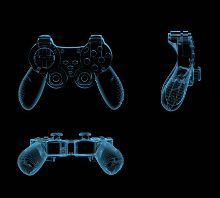 Gaming joystick  3D x-ray blue transparent isolated on black  Stock Photo