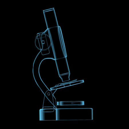 Microscope (3D x-ray blue transparent isolated on black) photo