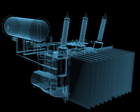 transformator: Transformator substation (3D x-ray blue transparent isolated on black)