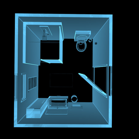 Bathroom (3D xray blue transparent isolated on black background)