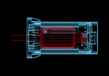 DC Electric motor (3D xray red and blue transparent isolated on black background)