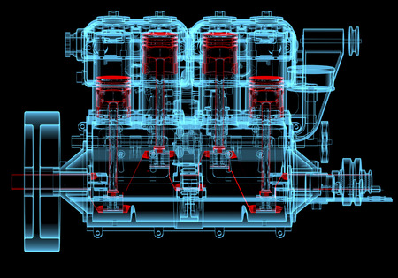 combustion: Internal combustion engine (3D xray red and blue transparent isolated on black background)