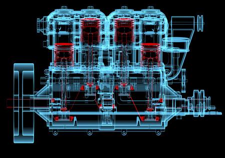 Verbrandingsmotor (3D xray rood en blauw transparant geïsoleerd op zwarte achtergrond) Stockfoto