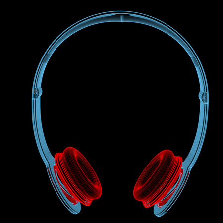Wireless headphones (3D xray red and blue transparent isolated on black background)