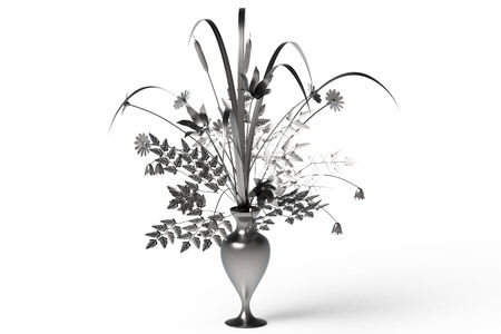 Assorted flowers in vase isolated on white