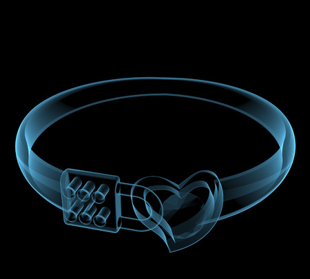 Creative ring  3D x-ray blue transparent isolated on black