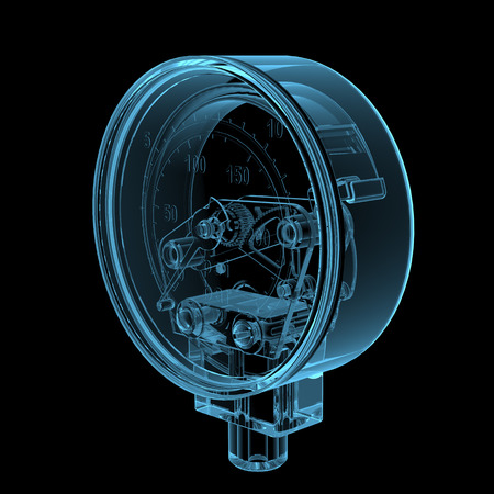 pressure gauge: Pressure gauge  3D x-ray blue transparent isolated on black