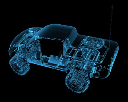 Radio controlled R C toy car  3D xray blue transparent  Stock Photo