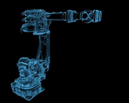 assembly: Robot industrial radiografía 3D azul transparente