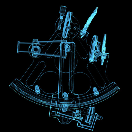 Sextant  3D x-ray blue transparent isolated on black