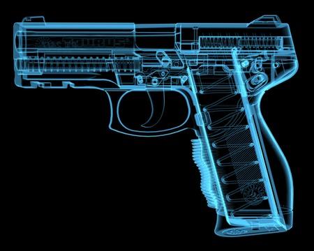 권총 3D 블루 투명 엑스레이 스톡 콘텐츠