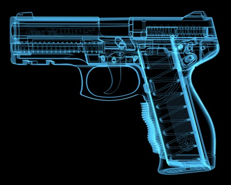 Pistol  3D xray blue transparent Stock Photo - 27466907