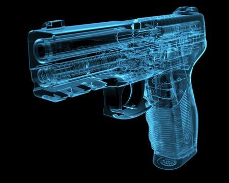 Pistol 3D xray blauwe transparant Stockfoto