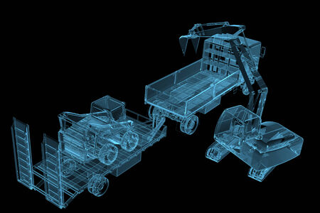 x ray equipment: Heavy construction machinery  3D x-ray blue transparent isolated on black