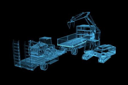 Heavy construction machinery  3D x-ray blue transparent isolated on black