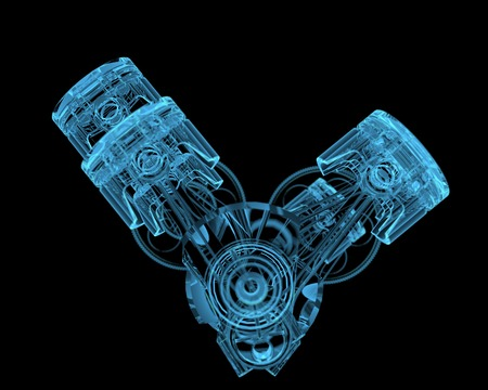 crankshaft: Crankshaft  3D xray blue transparent  Stock Photo