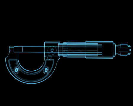 Micrometer  3D xray blue transparent isolated on black background