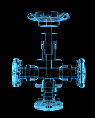 Piping  3D x-ray blue transparent isolated on black  Banco de Imagens