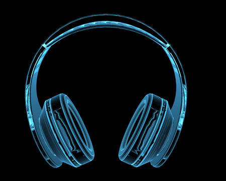 Hoofdtelefoon 3D x-ray blauw transparant geïsoleerd op zwart