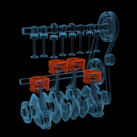 inner cylinder: Crank shaft with pistons (3D xray red and blue transparent isolated on black background)