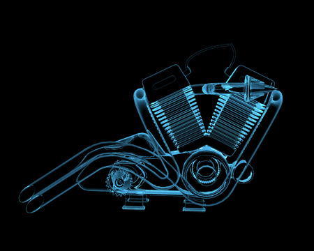 dismounted: Motocycle engine (3D x-ray blue transparent isolated on black)