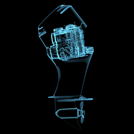 inner cylinder: Boat engine (3D xray blue transparent isolated on black background) Stock Photo