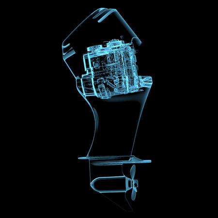 Scheepsmotor (3D xray blauwe transparant geïsoleerd op een zwarte achtergrond) Stockfoto
