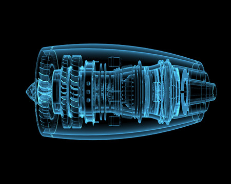 mechanical energy: Jet engine (3D x-ray blue transparent isolated on black) Stock Photo