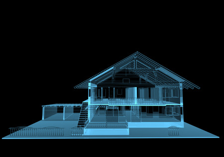 Residential house (3D x-ray blue transparent isolated on black) Stock Photo