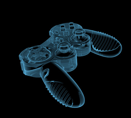 Gaming joystick (3D x-ray blue transparent isolated on black)