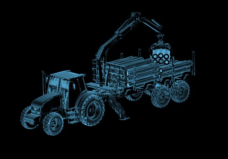Tractor (3D x-ray blue transparent isolated on black)