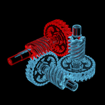 Gears (3D xray red and blue transparent isolated on black background)