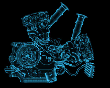 Engine x-ray blue transparent isolated on black photo