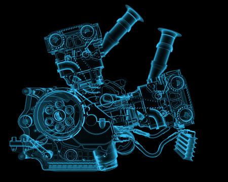 Motor x-ray blauw transparant geïsoleerd op zwart