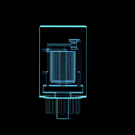 relay: Electric relay x-ray blue transparent isolated on black Stock Photo