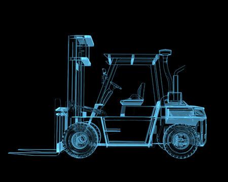 Heftruck kraan x-ray blauw transparant geïsoleerd op zwart Stockfoto