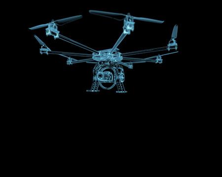 Drone vliegtuig uav x-ray blauw transparant geïsoleerd op zwart