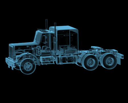 Truck x-ray blue transparent isolated on black photo